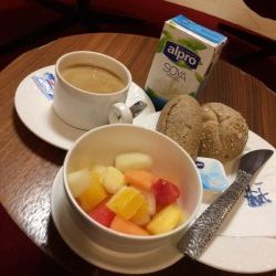 KLM Schiphol lounge layover vegan breakfast
