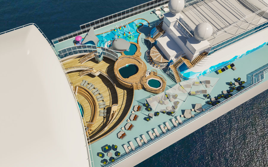 Caribbean Princess refurbishment 2019 the Reef from above