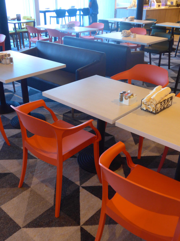 Caribbean Princess buffet new seating bold orange