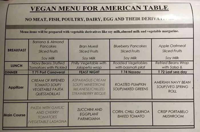 Carnival Liberty vegan menu main dining room