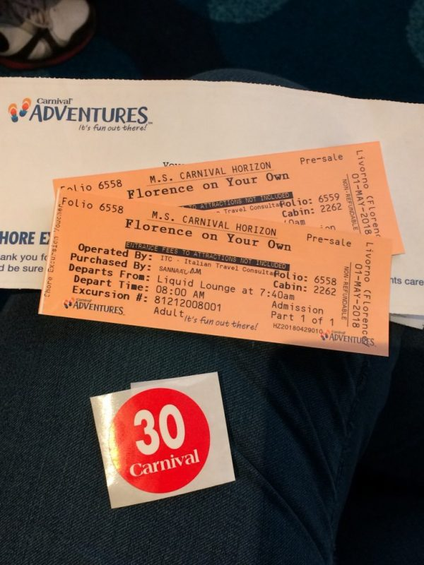 Florence excursion tickets carnival