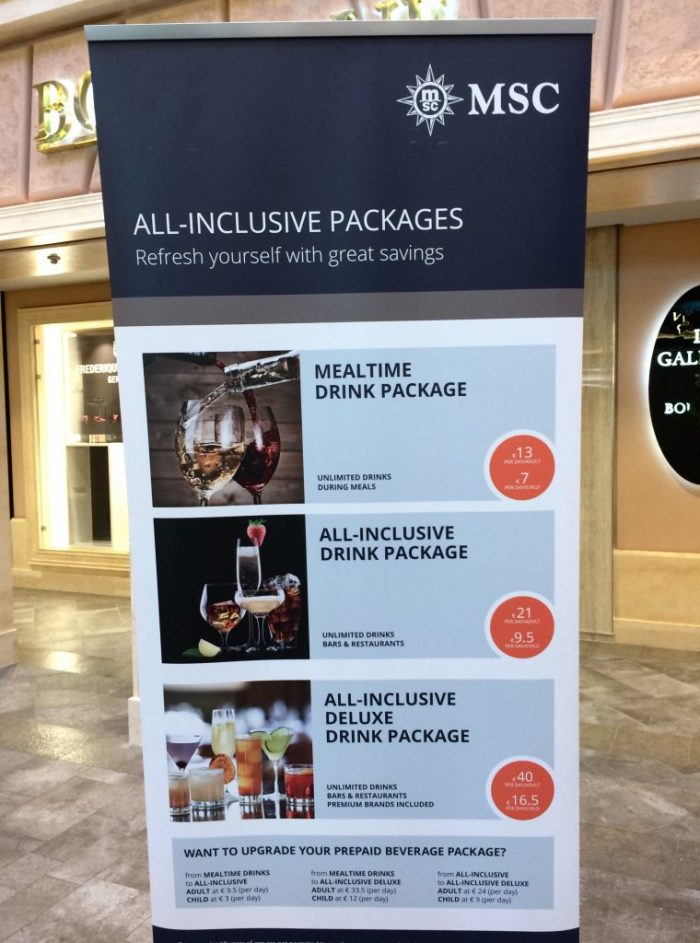 Meraviglia AI drink packages