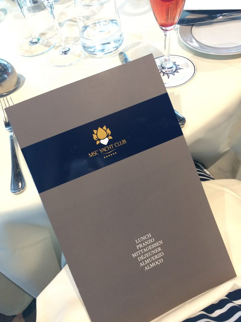 MSC yacht club lunch menu review