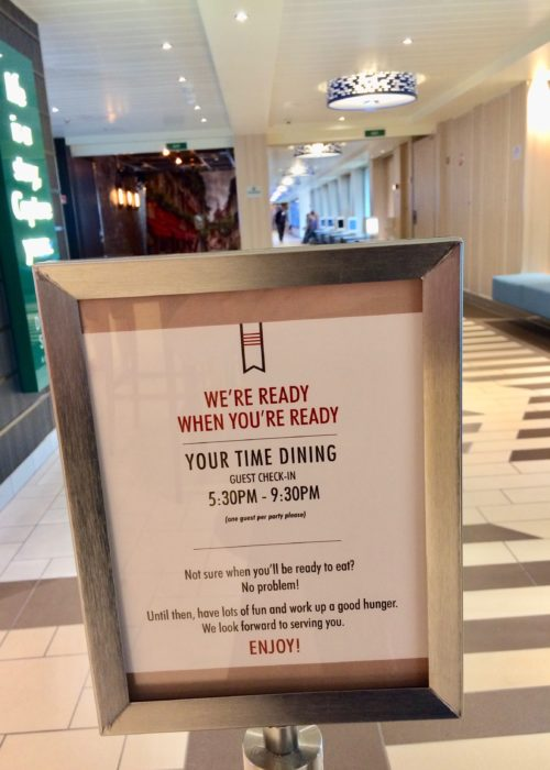 Carnival Horizon YourTime dining check-in desk sign
