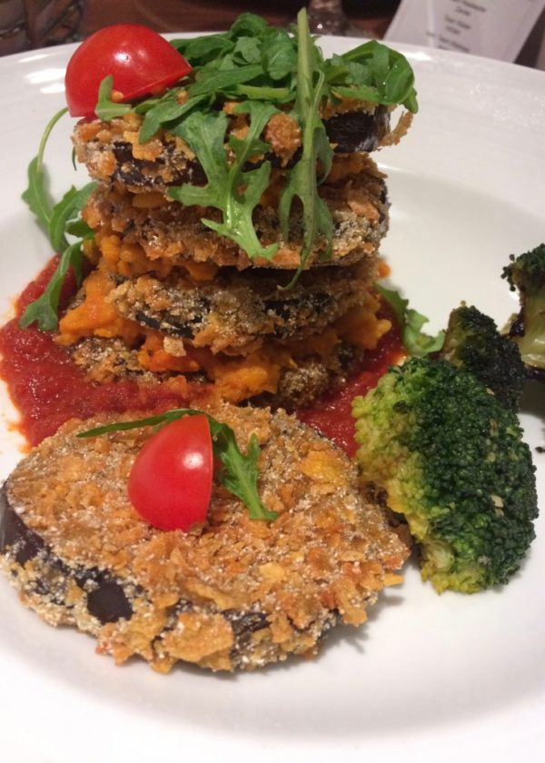 Carnival vegan eggplant parmigiana with marinara sauce & broccoli
