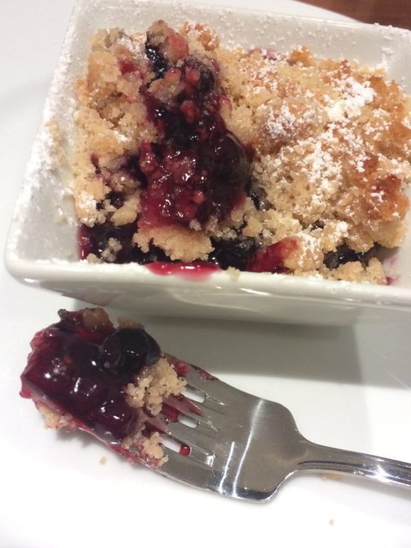 Vegan dessert blueberry cobbler crumble Carnival Cruise Line Horizon