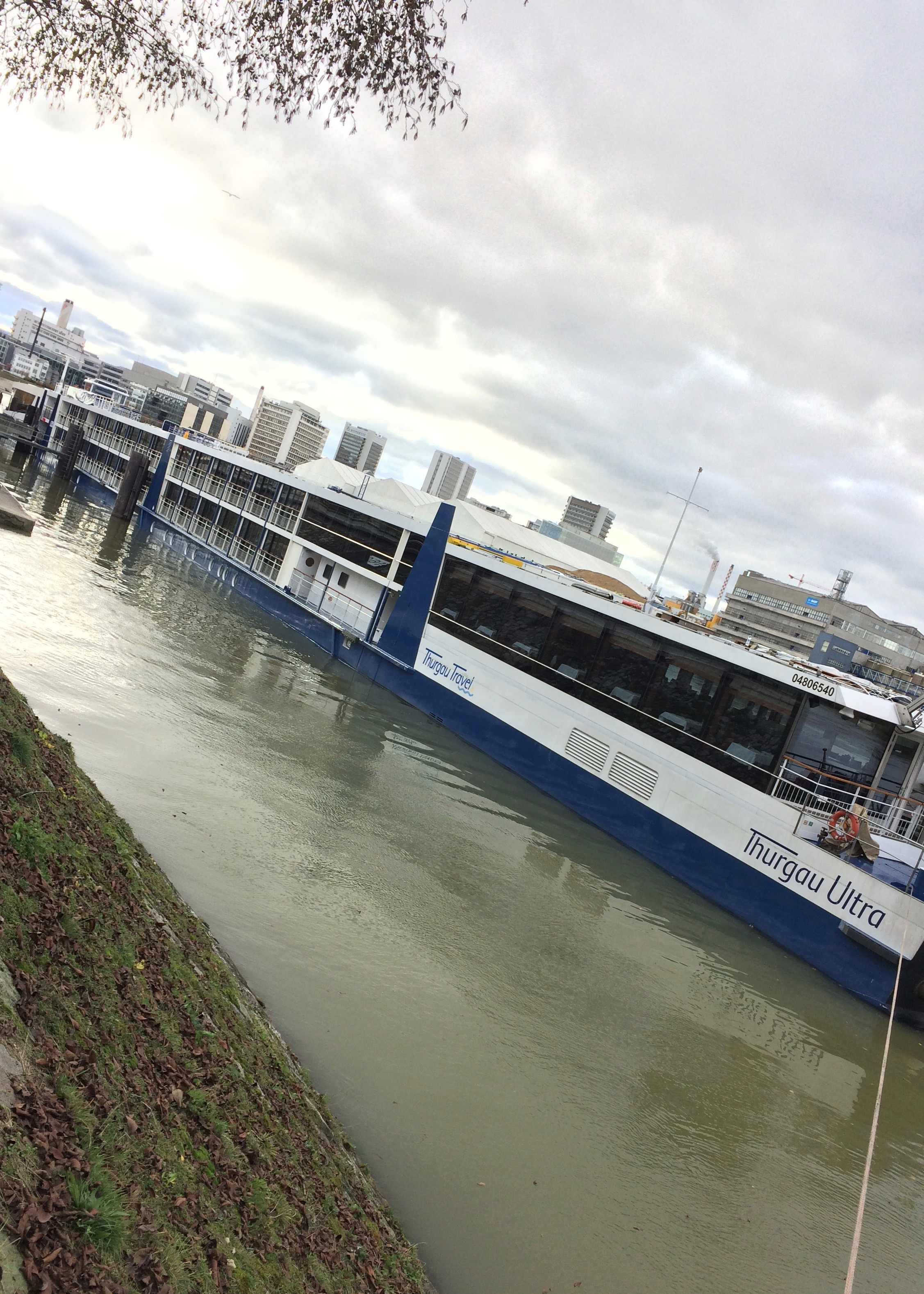 Thurgau Ultra docked in Basel Klybeck river cruise port