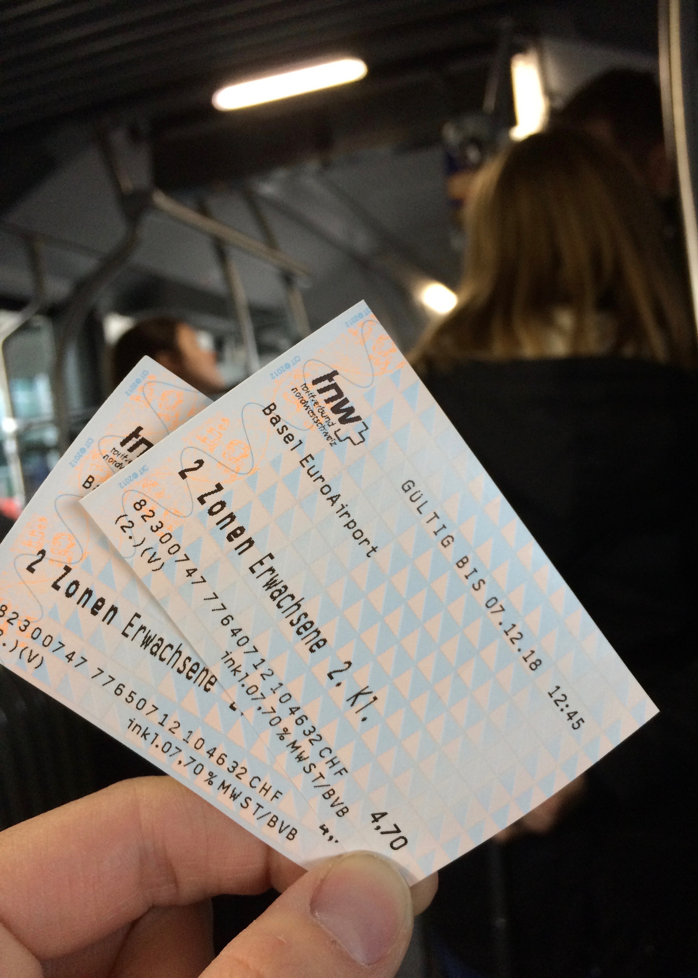 Basel airport bus no 50 tickets two zones