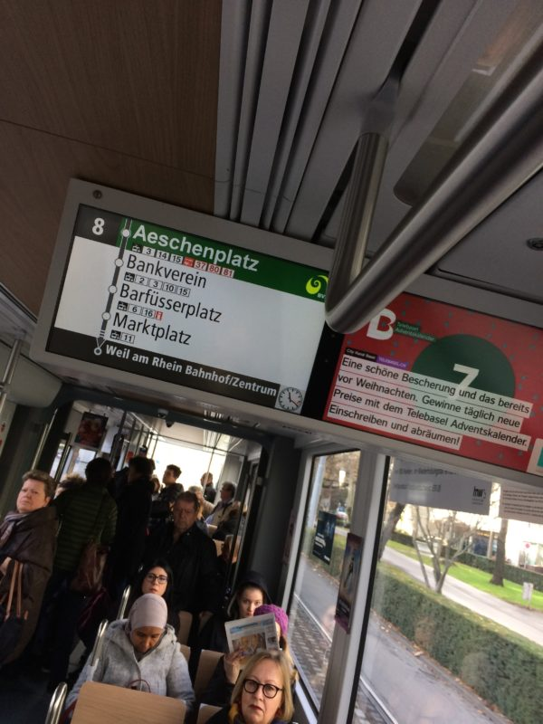 Basel tram helpful screen for stops
