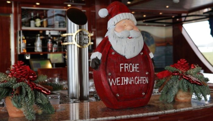 christmas River cruise decoration on ship from Basel