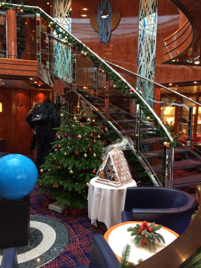 Christmas Markets river cruise ship lobby with festive decorations