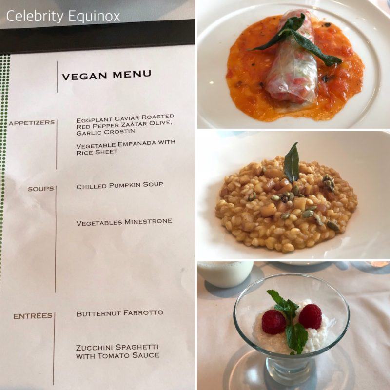 Celebrity Equinox vegan menu main dining room