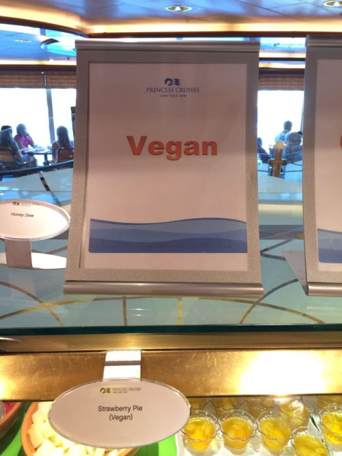 Crown Princess Cruises vegan food sign pie
