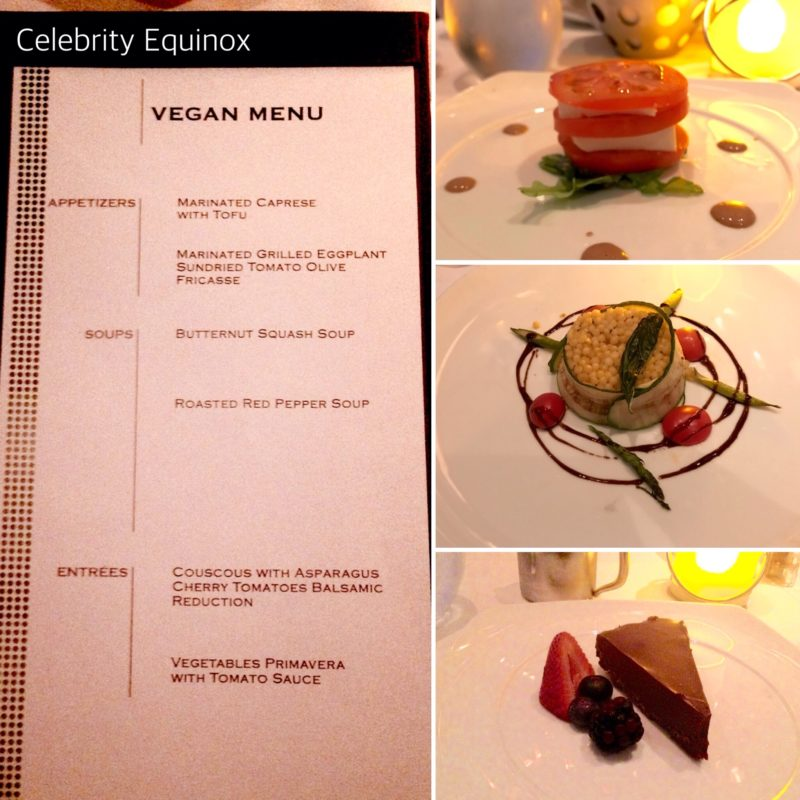 Celebrity Equinox MDR vegan menu