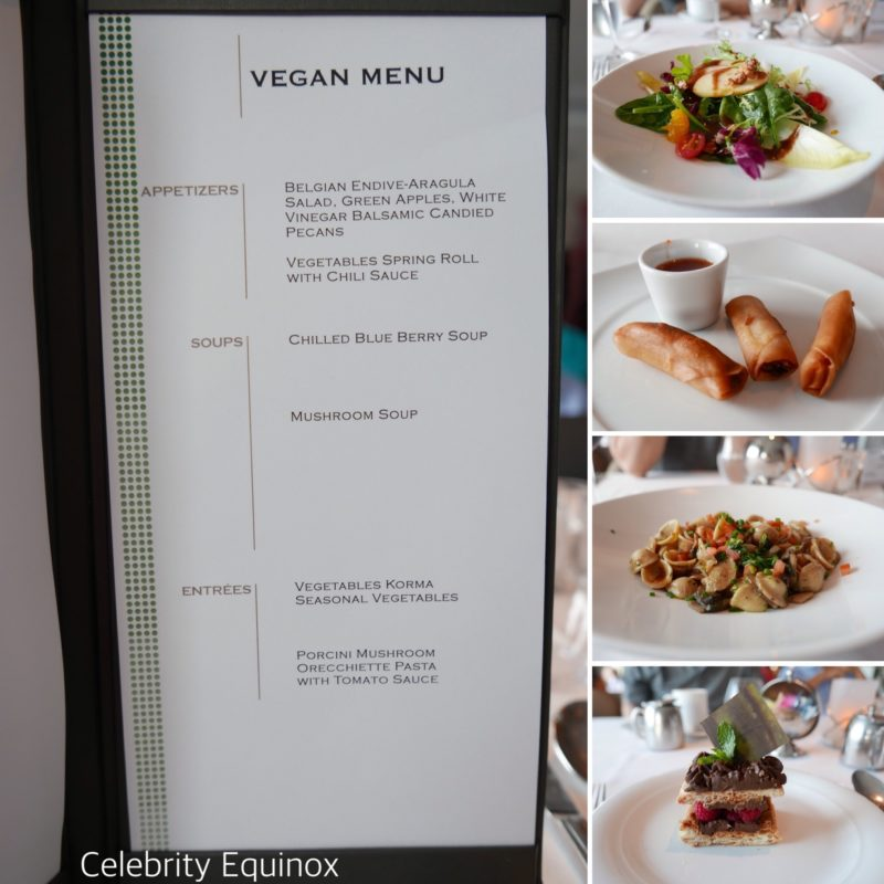 Celebrity Equinox vegan menu options