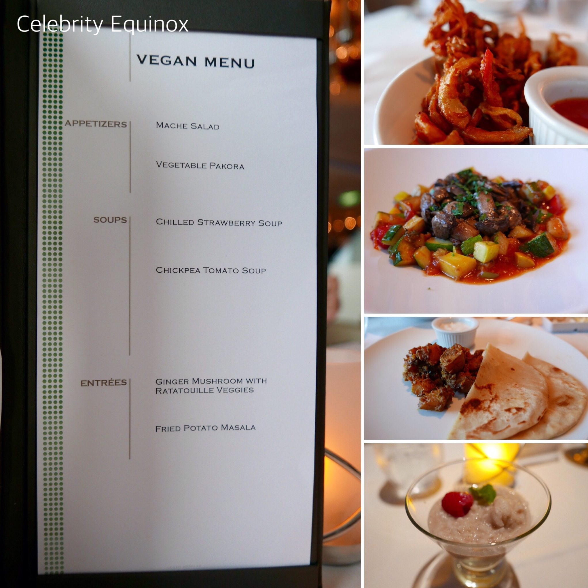 Celebrity Cruises vegan menu in dining room