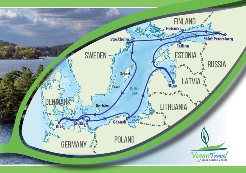 Vegan Travel all vegan Baltic cruise itinerary map