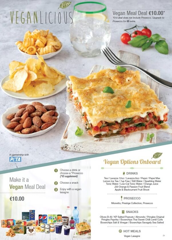 Ryanair vegan inflight meal deal menu page