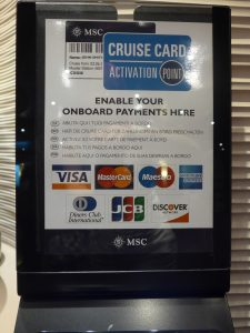 MSC cruise card activation terminal