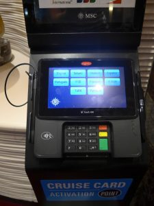 MSC Cruises card activation terminal