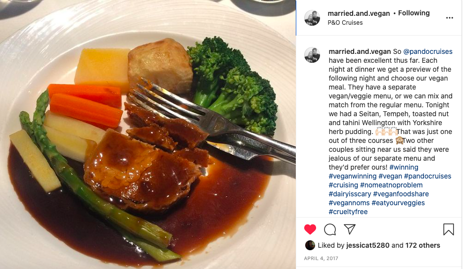 married and vegan IG P & O meal