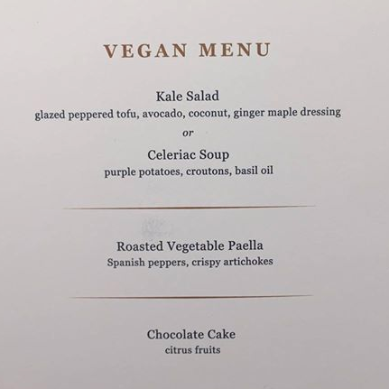 MSC vegan menu from Seaside launch party