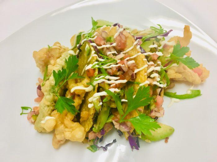 Azamara vegan menu tempura tacos