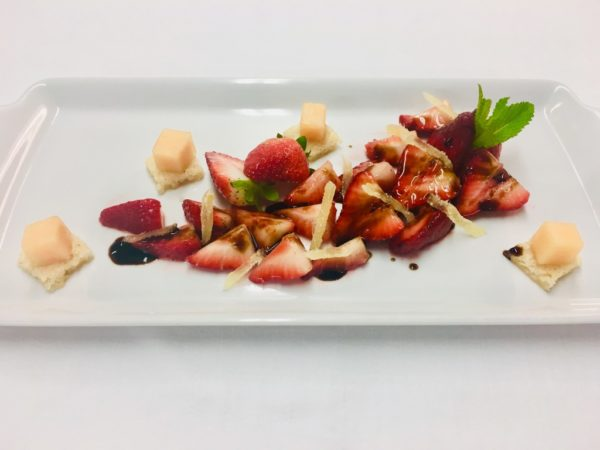Azamara vegan dessert strawberries with balsamic reduction