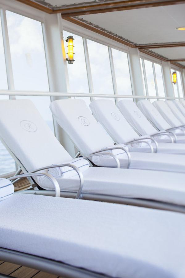 Regent Seven Seas luxury monogrammed sun loungers
