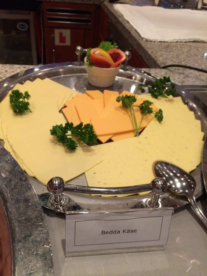vegan cheese on vegan river cruise breakfast buffet