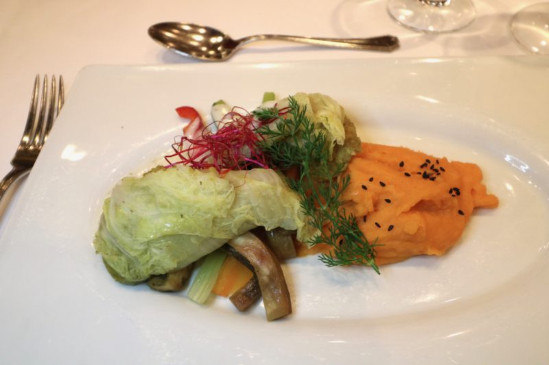 main course filled cabbage leaves vegan river cruise dinner 2