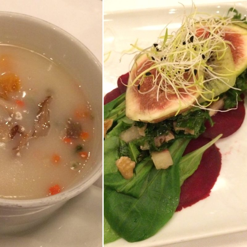 thai soup and fig & kiwi salad starters