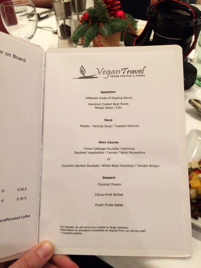 Vegan Travel dinner menu 2