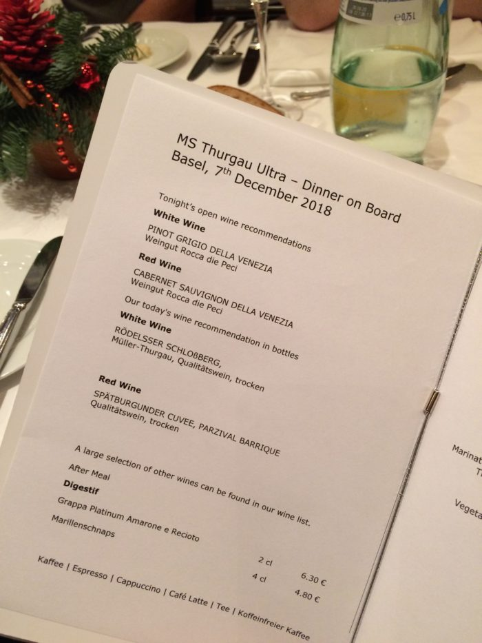Vegan cruise menu evening dinner winelist