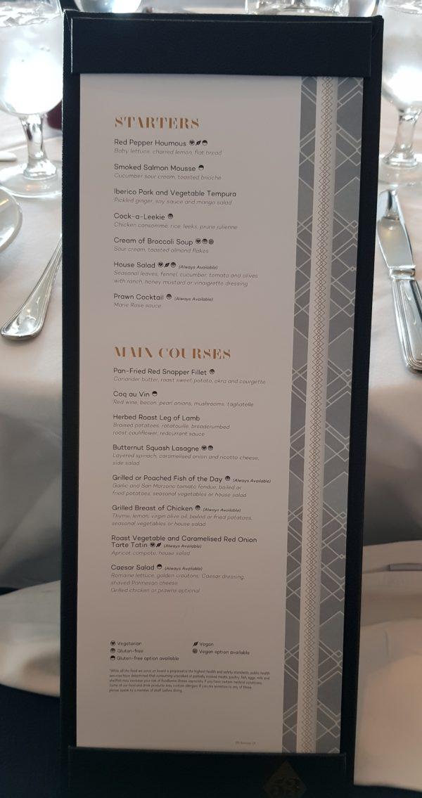 Marella 90s cruise allergen markings on menu