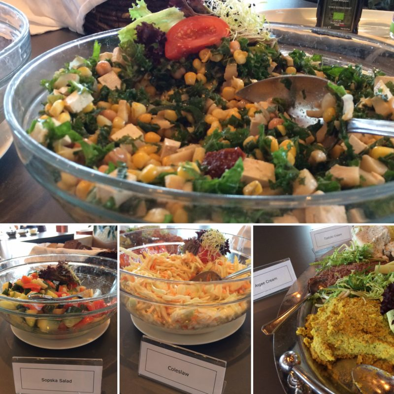 vegan travel salad bar collage