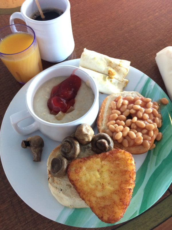 Crown Princess vegan breakfast buffet selection
