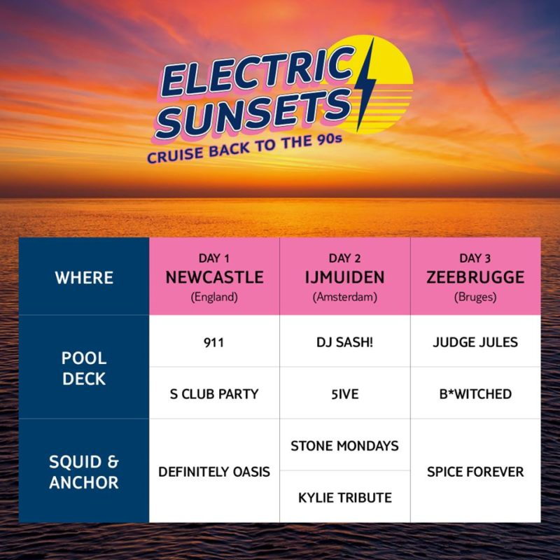 lineup timetable for Electric Sunsets 90s cruise