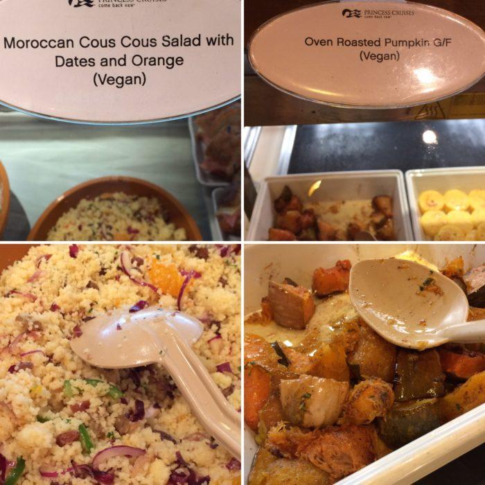 Vegan cous cous and roast pumpkin Crown Princess buffet vegan lunch items