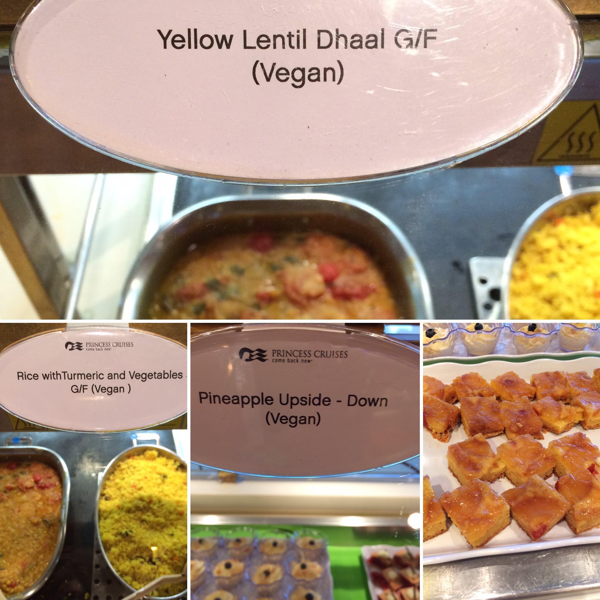 Crown Princess vegan buffet lunch options collage with pineapple cake