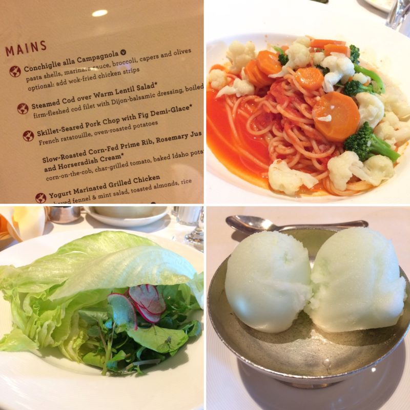 Collage of Crown Princess vegan offering main dining room day 1
