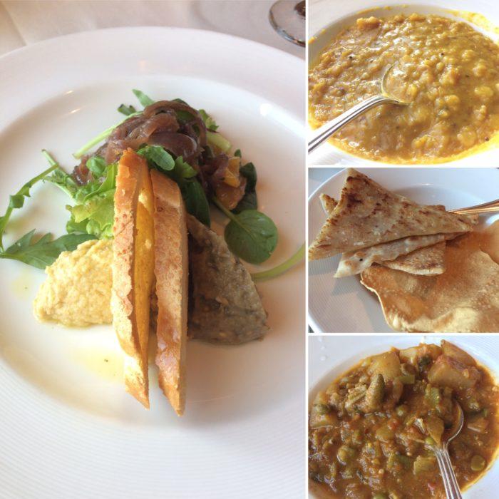 Crown Princess vegan dinner main dining room starter & indian curries