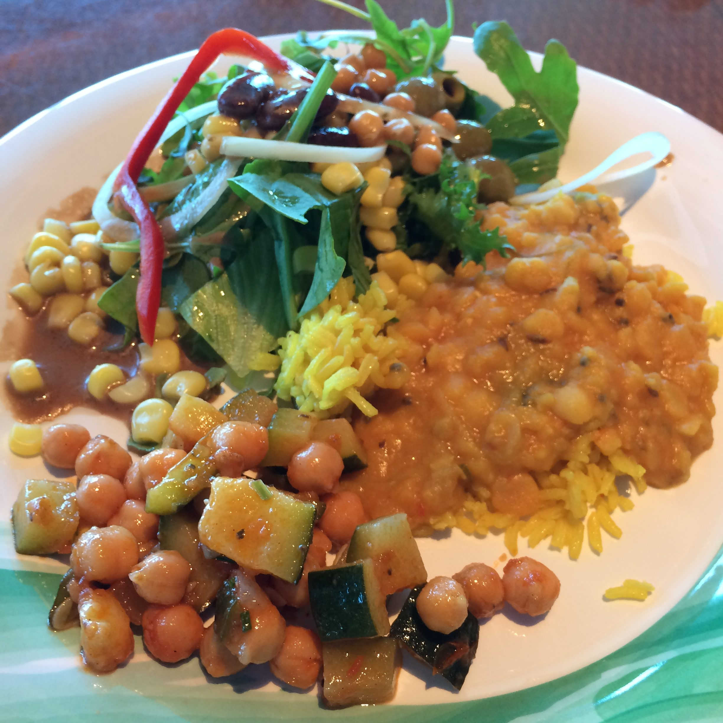 Chickpea courgette salad & indian dish lunch vegan Crown Princess