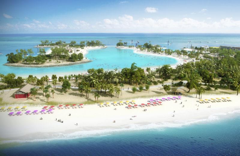 MSC Ocean Cay Marine Reserve beach drone shot style render