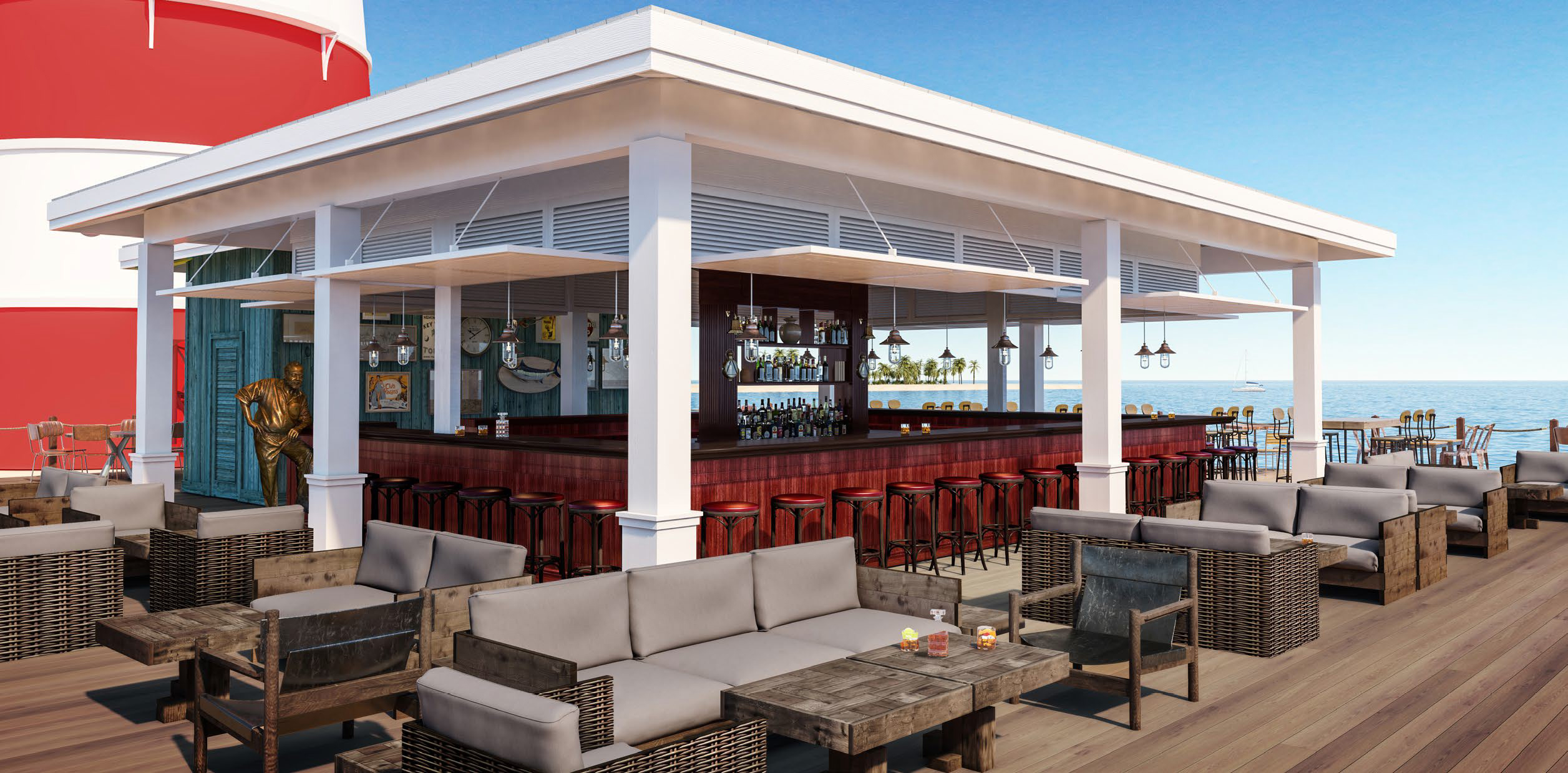 MSC Ocean Cay Marine Reserve render of a bar on island