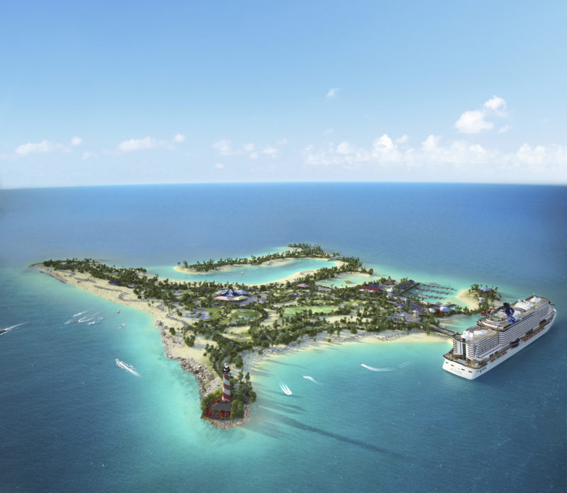 MSC Ocean Cay Marine Reserve render ship in port