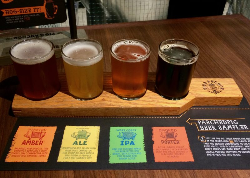 Parched Pig brewery beer flight taster board