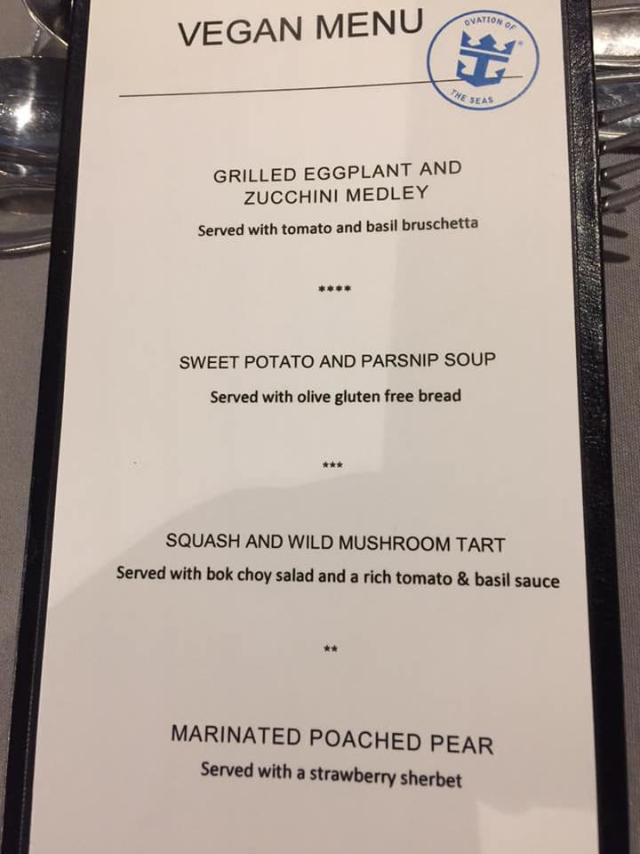 Royal Caribbean vegan menu Ovation OTS Aug 2019