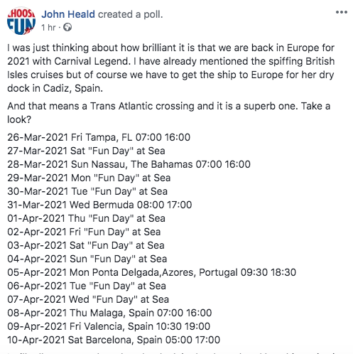 Carnival Legend Europe 2021 transatlantic timetable