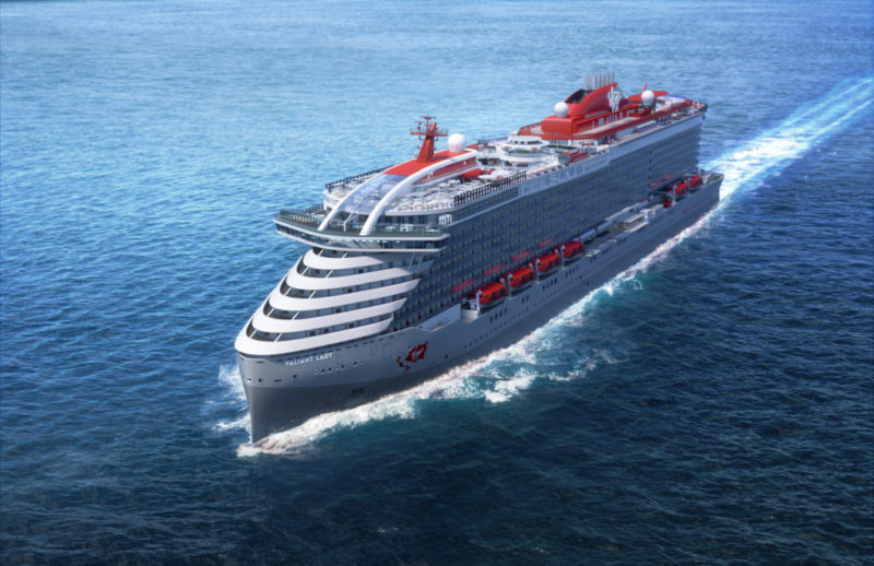 Render of Valiant Lady at sea Virgin Voyages PR